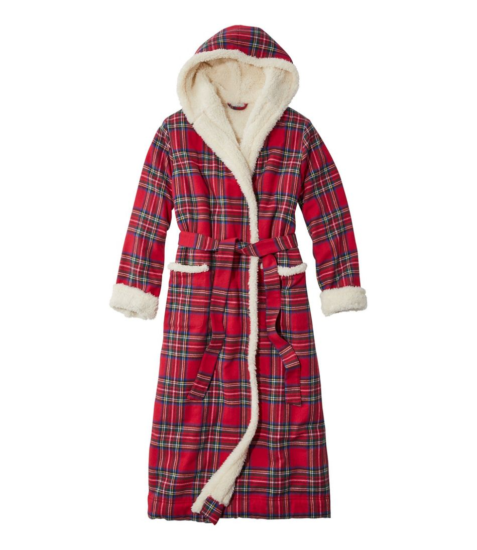 Women's Scotch Plaid Flannel Robe, Sherpa-Lined Long