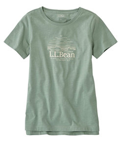 Women's Lakewashed Organic Cotton Tee, Short-Sleeve Crewneck Graphic
