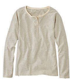 Women's Lakewashed Organic Cotton Tee, Henley Stripe
