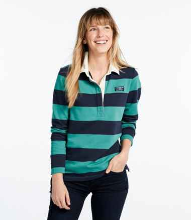 Women's Soft Cotton Rugby, Classic Stripe