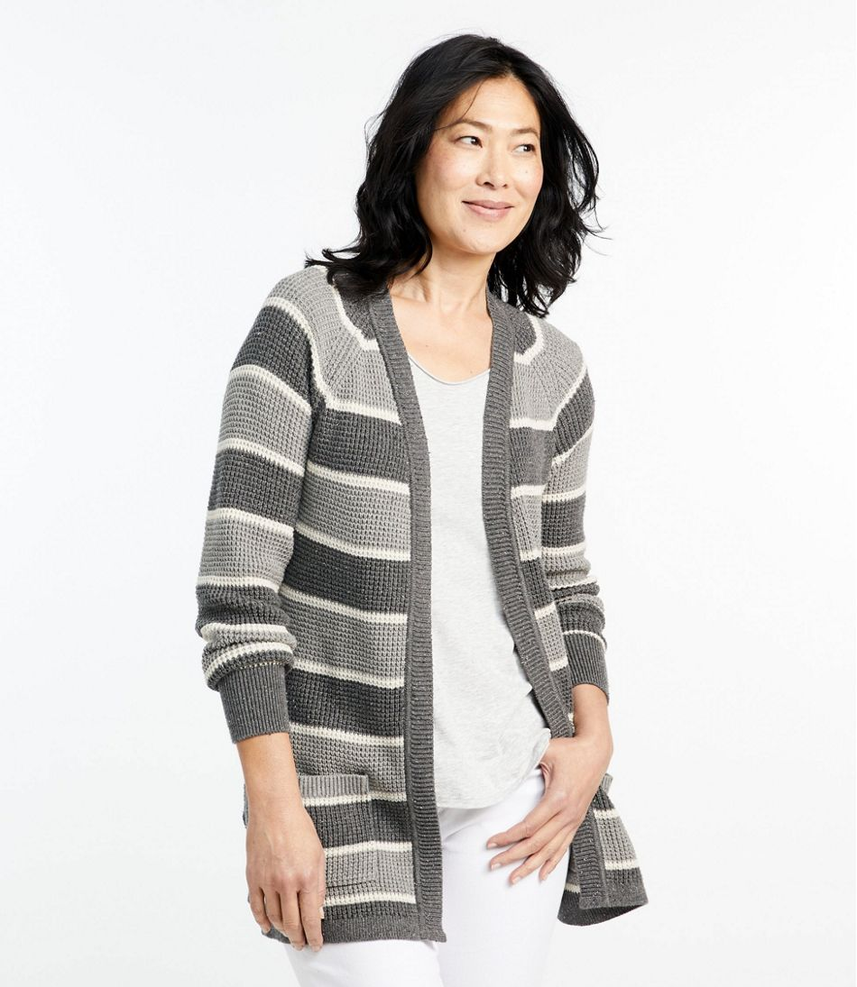 Organic Donegal Sweater, Open Cardigan Stripe
