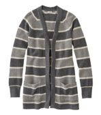 Women's Organic Donegal Sweater, Open Cardigan Stripe