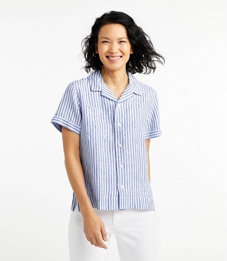Women's Premium Washable Linen Camp Shirt, Short-Sleeve Stripe