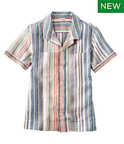 Premium Washable Linen Camp Shirt, Short-Sleeve Stripe