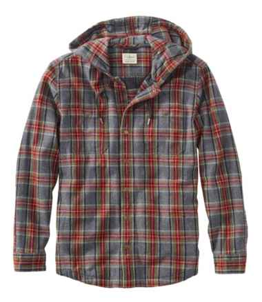 Men's Scotch Plaid Flannel Hooded Shirt, Slightly Fitted