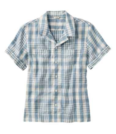 Premium Washable Linen Camp Shirt, Short-Sleeve Plaid