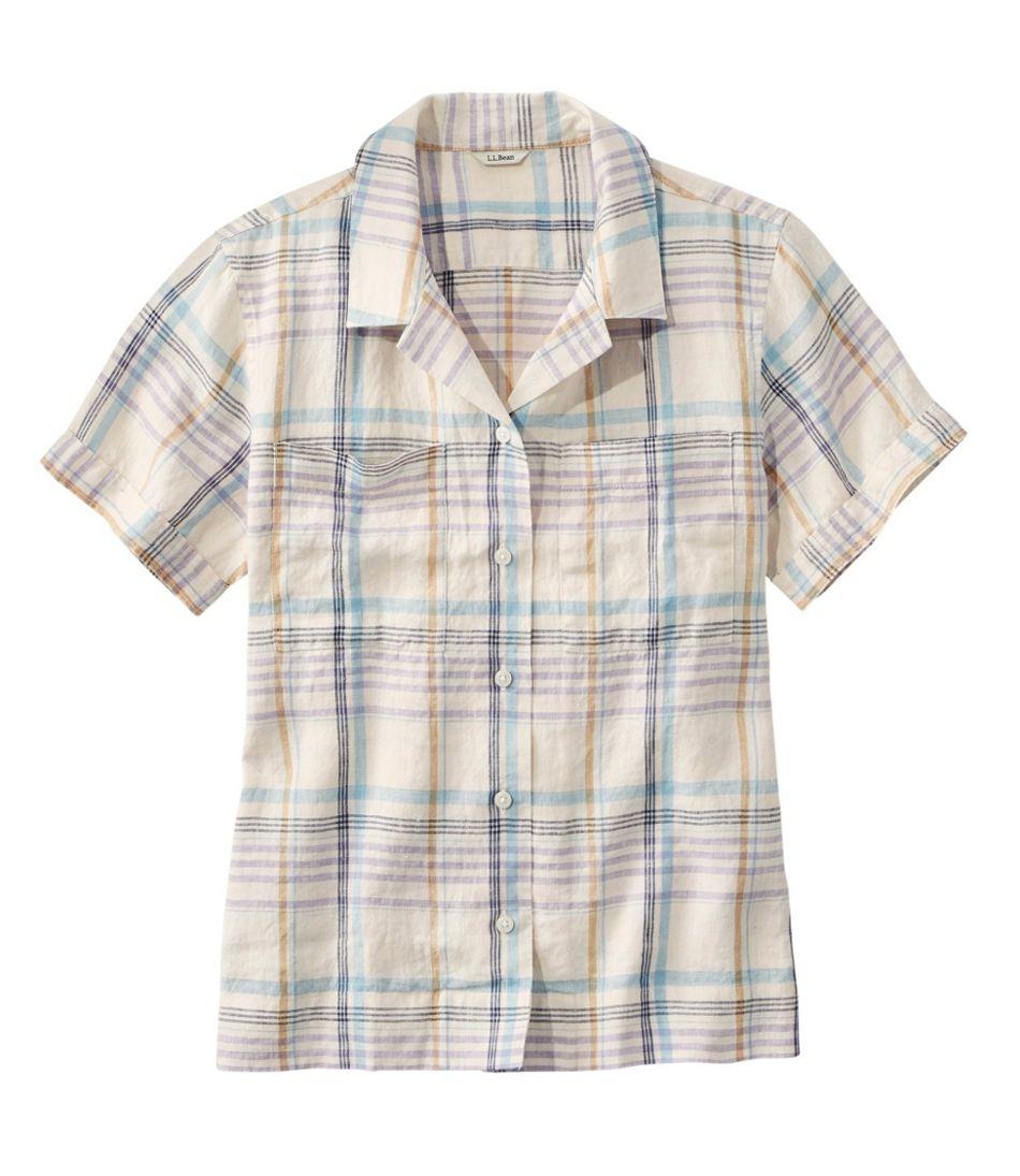 Women's Premium Washable Linen Camp Shirt, Short-Sleeve Plaid