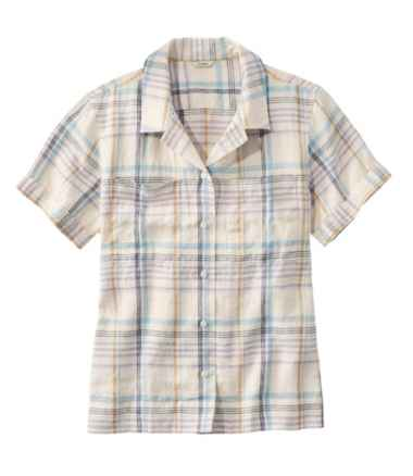 Women's Premium Washable Linen Camp Shirt, Short-Sleeve Plaid