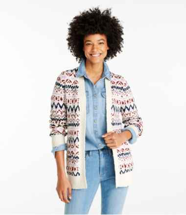 Women's Cotton Ragg Sweater, Open Cardigan Fair Isle