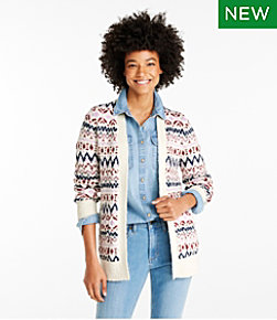 Cotton Ragg Sweater, Open Cardigan Fair Isle