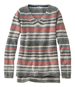 Women's L.L.Bean Shaker-Stitch Sweater, V-Neck Pullover Stripe