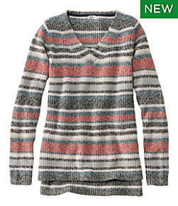 L.L.Bean Shaker-Stitch Sweater, V-Neck Pullover Stripe