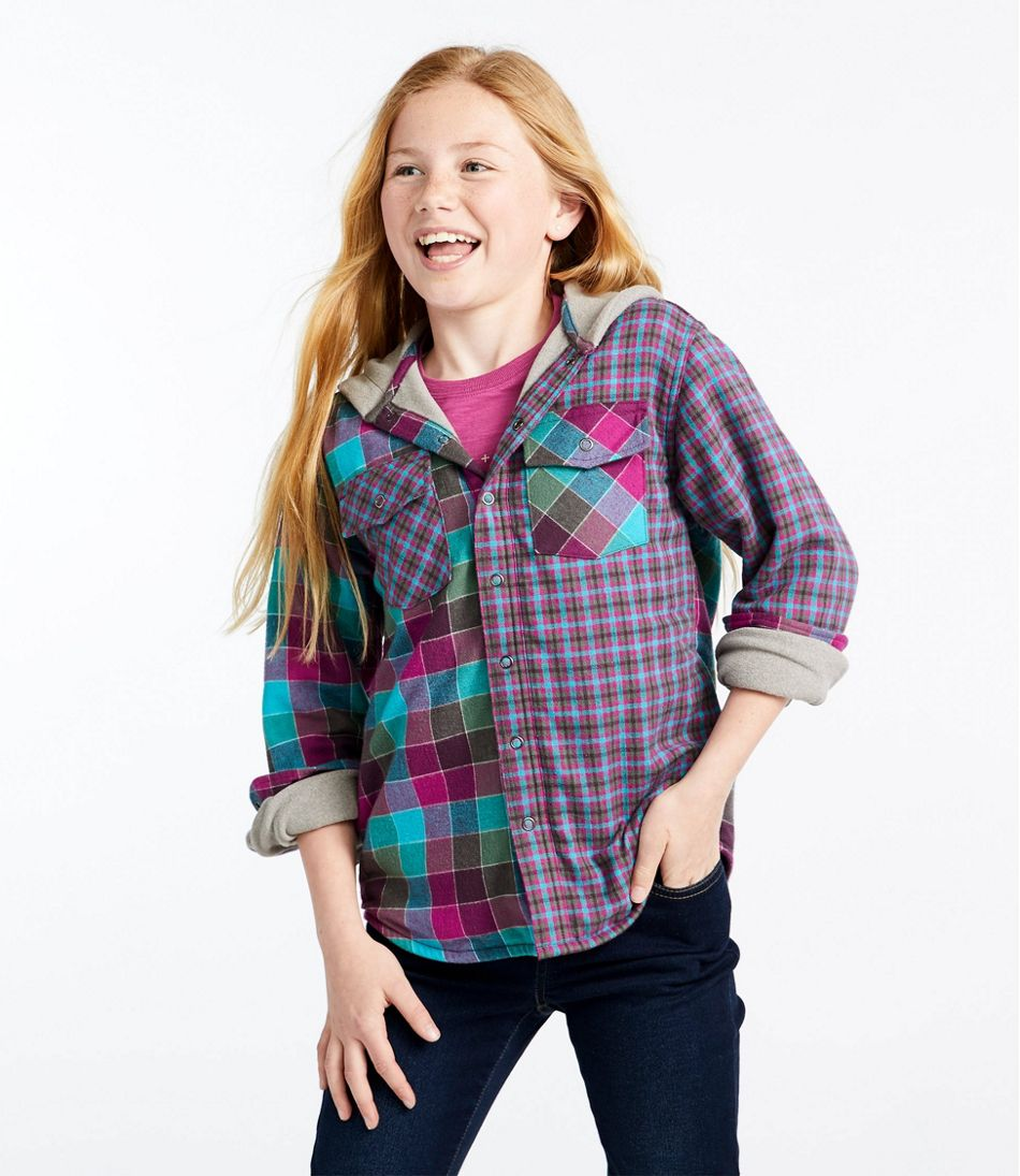 Kids' Fleece-Lined Flannel Shirt, Hooded, Colorblock