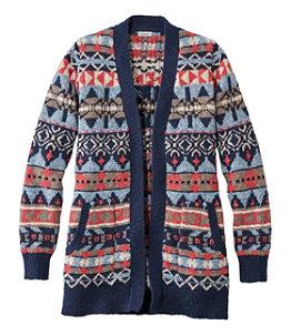 Women's Cotton Ragg Sweater, Open Cardigan Fair Isle