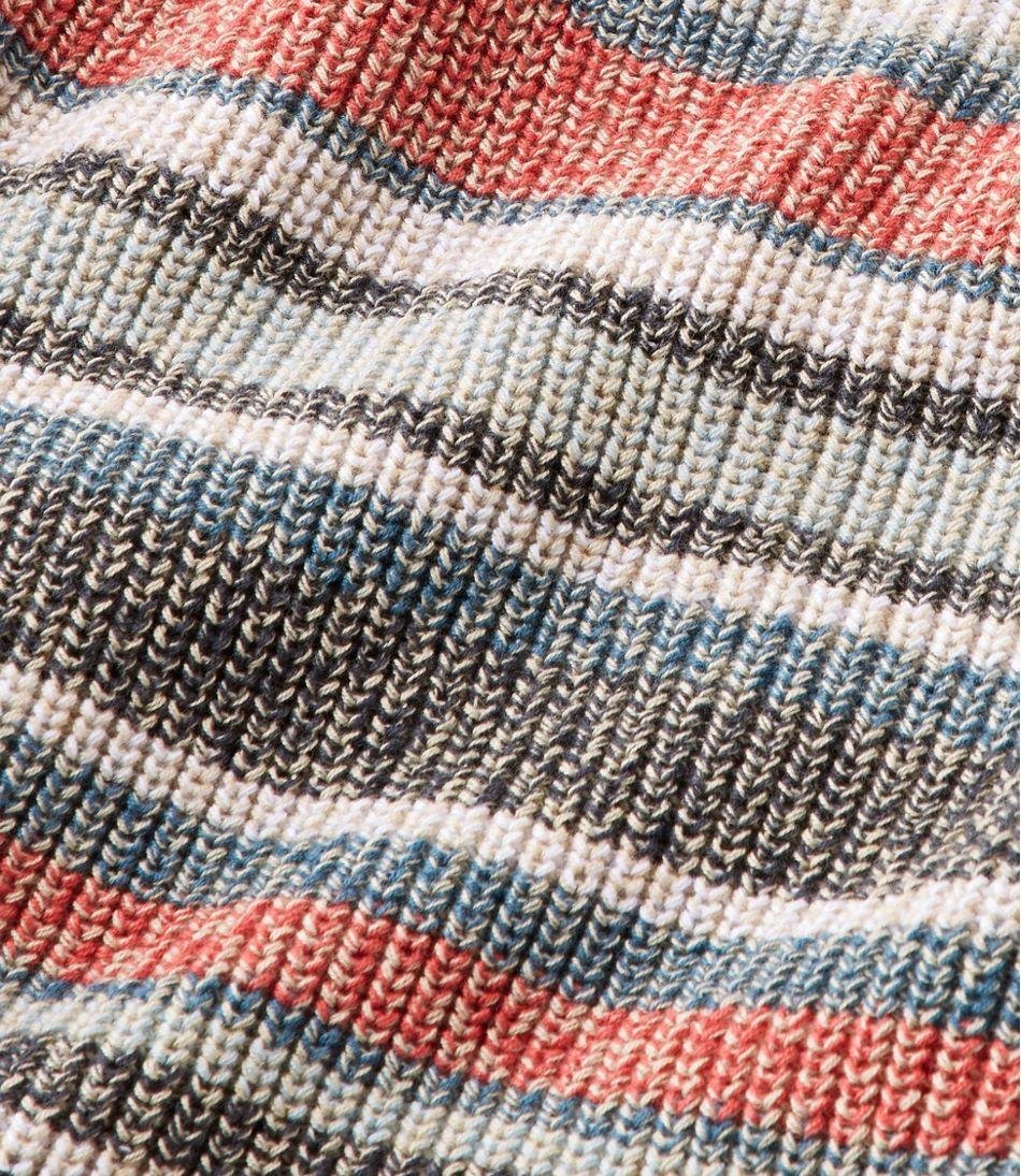 L.L.Bean Shaker-Stitch Sweater, V-Neck Pullover Stripe