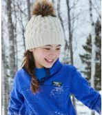 Girls' Cozy Cable Pom Hat
