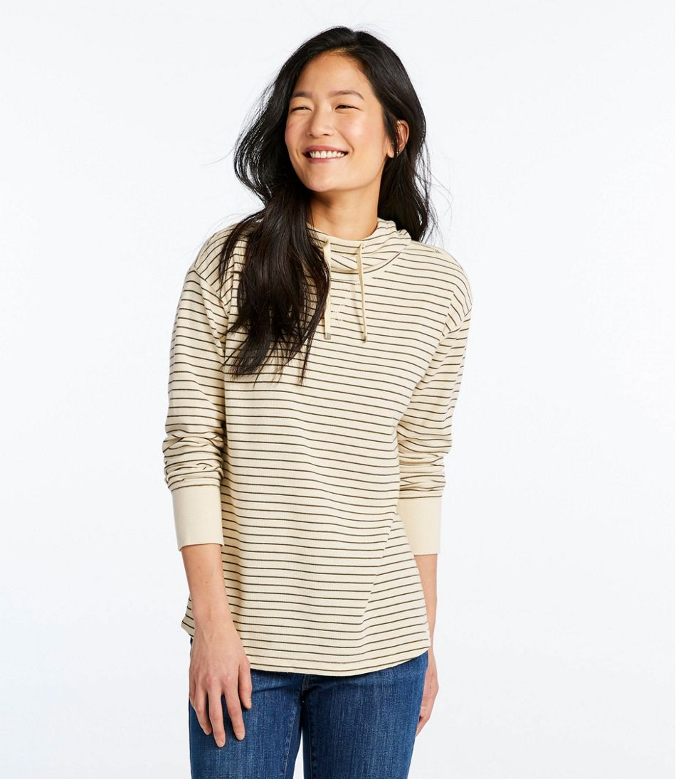 Women's Unshrinkable Mini-Waffle Hoodie, Long-Sleeve Stripe