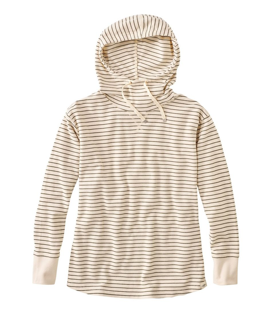 Unshrinkable Mini-Waffle Hoodie, Long-Sleeve Stripe