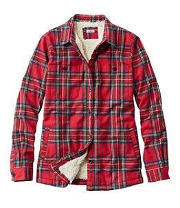 Women's Scotch Plaid Shirt, Sherpa-Lined