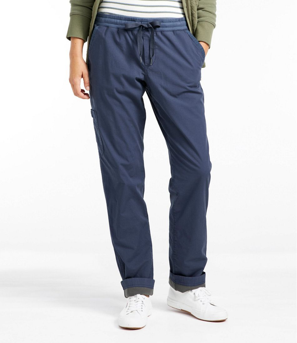 Women's Stretch Ripstop Pull-On Pants, Fleece-Lined
