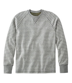 Men's Washed Cotton Double-Knit Crewneck, Long-Sleeve, Stripe