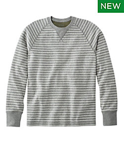 Washed Cotton Double-Knit Crewneck, Long-Sleeve, Stripe