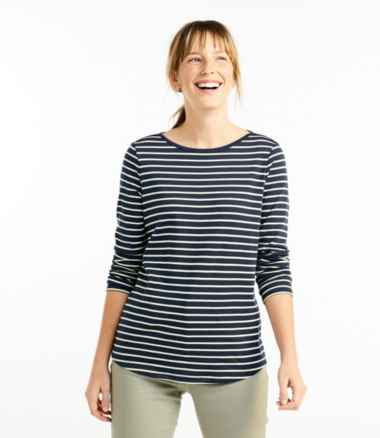 Women's Pima Cotton Shaped Tee, Long-Sleeve Boatneck Stripe
