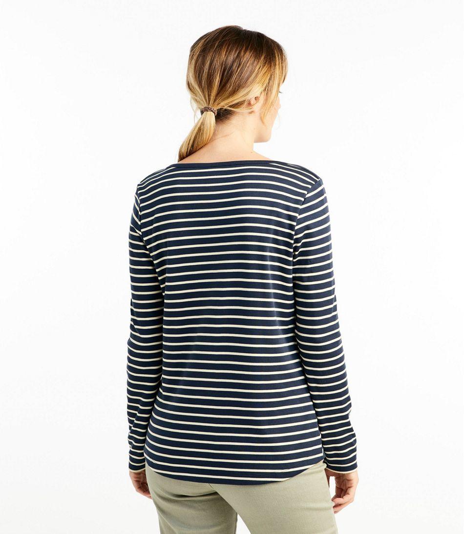 Pima Cotton Shaped Tee, Long-Sleeve Boatneck Stripe