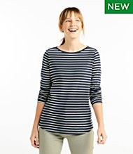 44b9df9cd585 Pima Cotton Shaped Tee, Long-Sleeve Boatneck Stripe