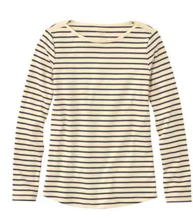 Pima Cotton Shaped Tee, Long-Sleeve Boatneck Stripe