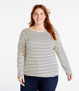Women's Pima Cotton Shaped Tee, Long-Sleeve Boatneck Stripe