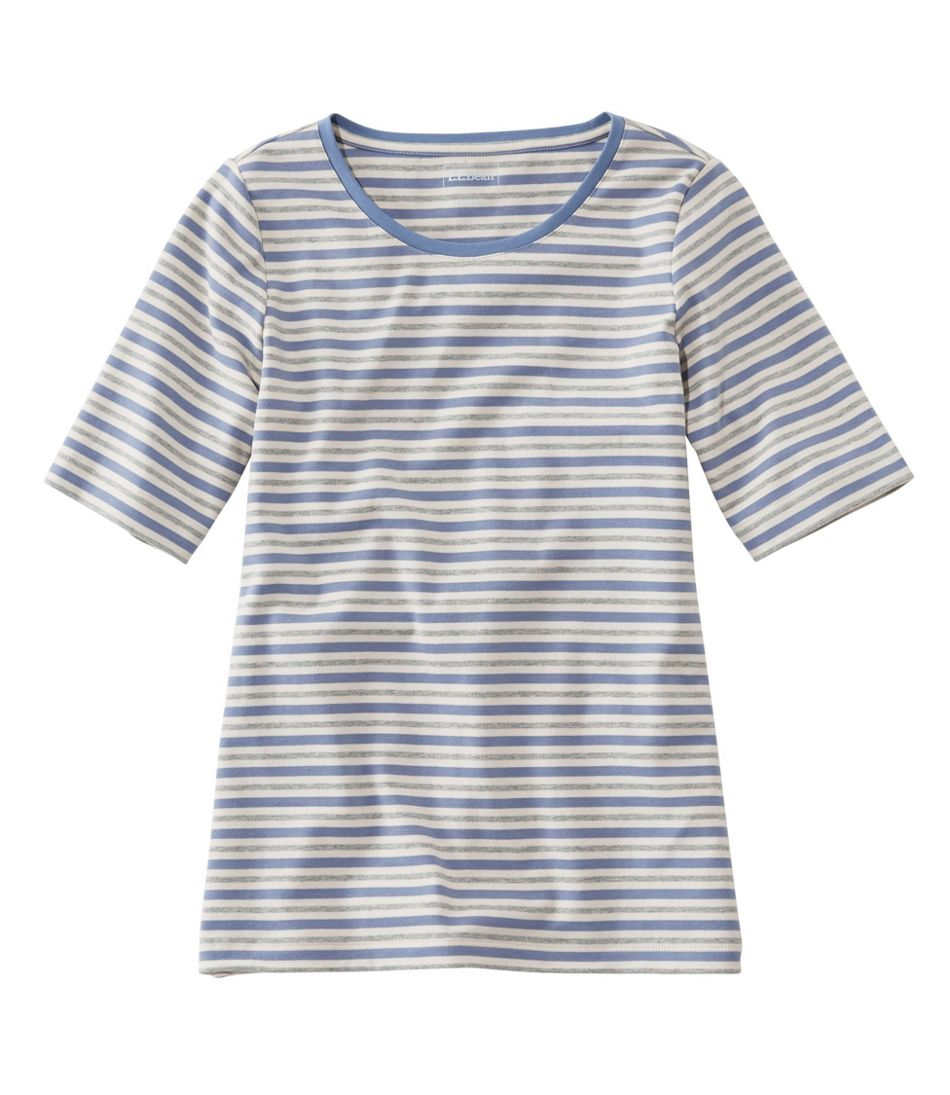 L.L.Bean Jewelneck Tee, Elbow-Sleeve Stripe