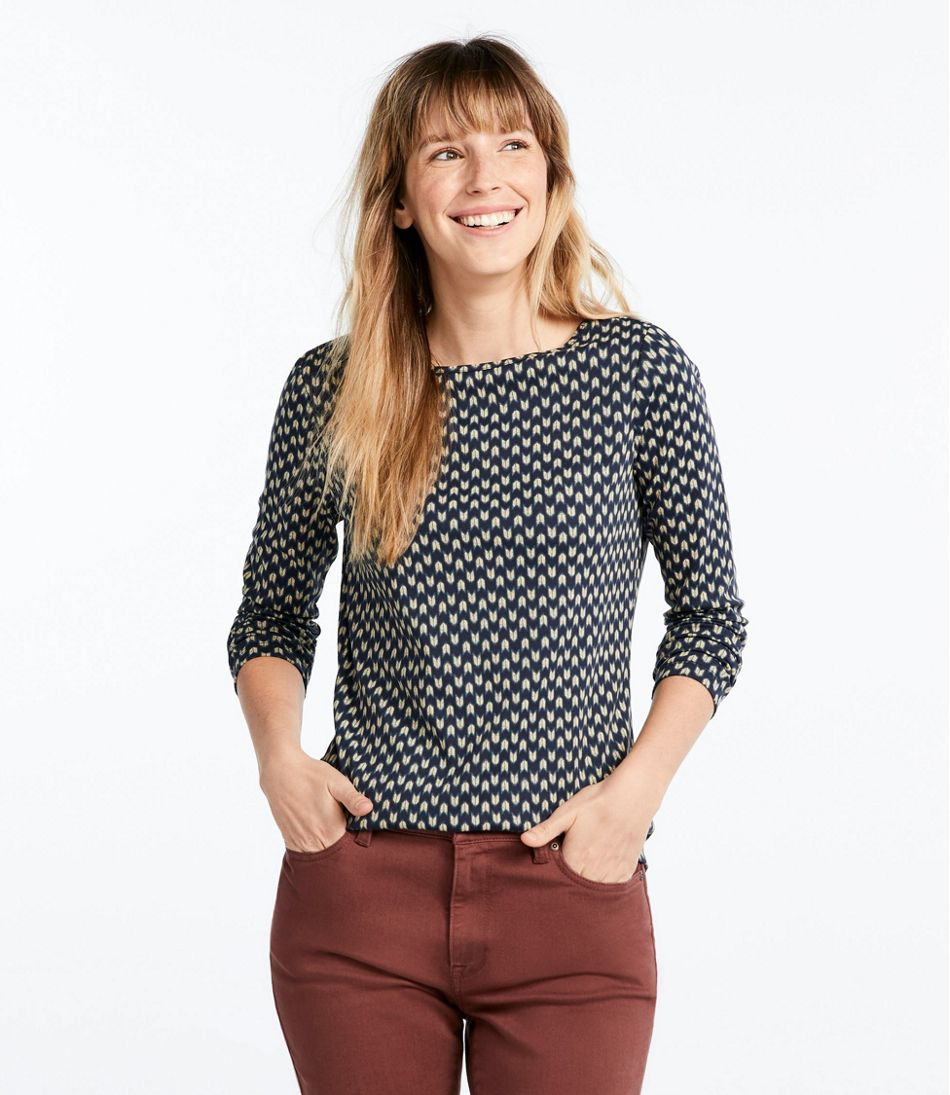 Pima Cotton Shaped Tee, Long-Sleeve Boatneck Print