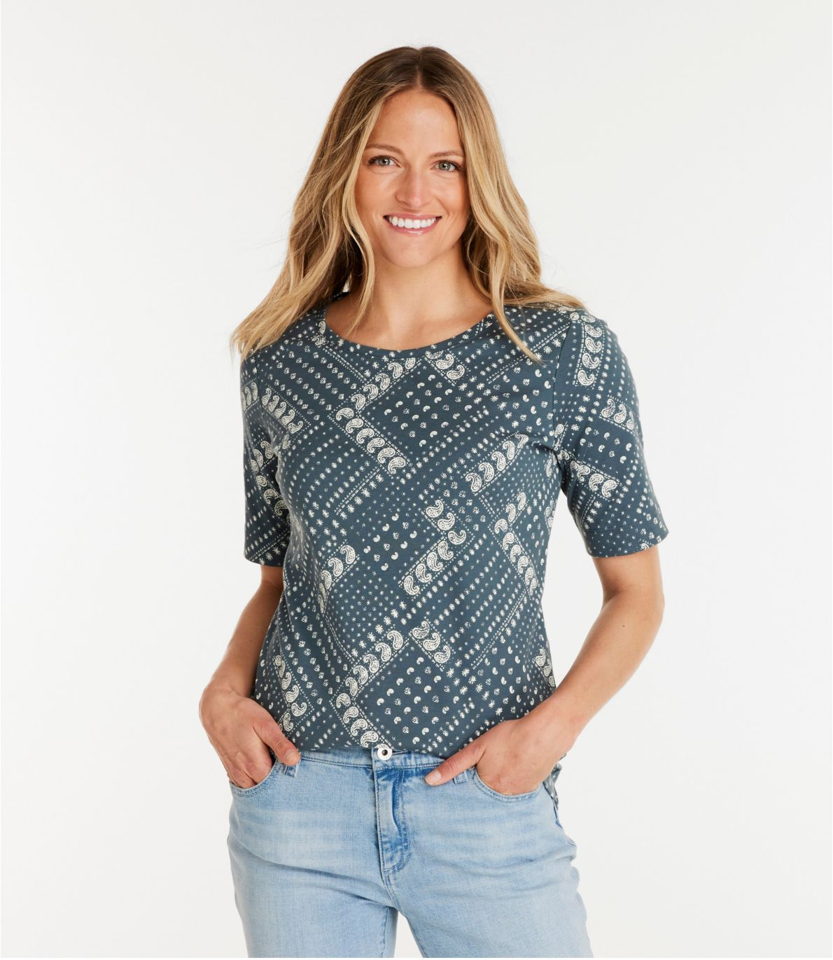 Women's L.L.Bean Jewelneck Tee, Elbow-Sleeve Print