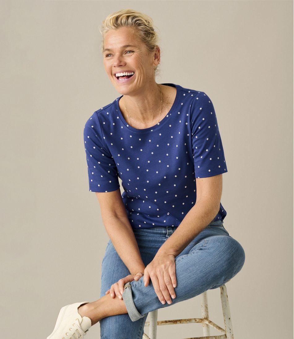 Women's L.L.Bean Jewelneck Tee, Elbow-Sleeve Print