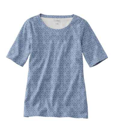 L.L.Bean Jewelneck Tee, Elbow-Sleeve Print