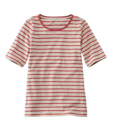 L.L.Bean Jewelneck Tee, Elbow-Sleeve Stripe