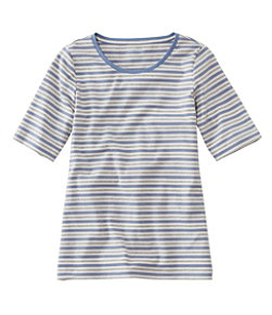 Women's L.L.Bean Jewelneck Tee, Elbow-Sleeve Stripe