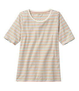 Women's L.L.Bean Jewelneck Tee, Elbow-Sleeve Stripe