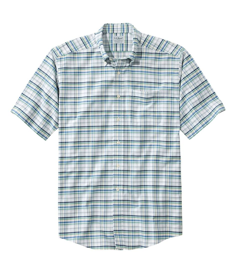 Wrinkle-Free Classic Oxford Cloth Shirt, Short-Sleeve Plaid