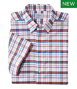 Wrinkle-Free Classic Oxford Cloth Shirt, Short-Sleeve Plaid