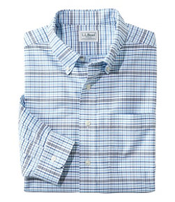 Men's Wrinkle-Free Classic Oxford Cloth Shirt, Long-Sleeve Plaid, Traditional Fit
