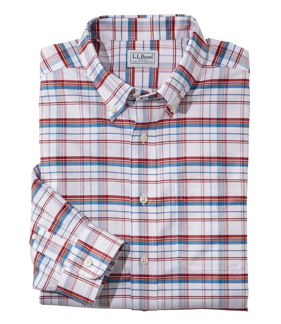 Wrinkle-Free Classic Oxford Cloth Shirt, Long-Sleeve Plaid, Traditional Fit