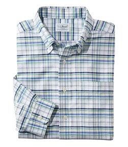 Wrinkle-Free Classic Oxford Cloth Shirt, Long-Sleeve Plaid, Slightly Fitted