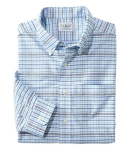 Men's Wrinkle-Free Classic Oxford Cloth Shirt, Long-Sleeve Plaid, Slightly Fitted