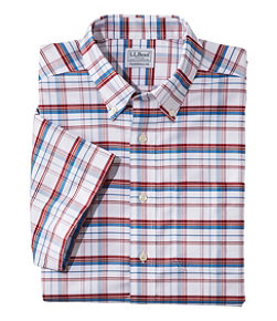 Men's Wrinkle-Free Classic Oxford Cloth Shirt, Short-Sleeve Plaid