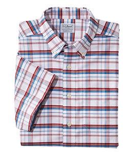 Men's Wrinkle-Free Classic Oxford Cloth Shirt, Short-Sleeve Plaid