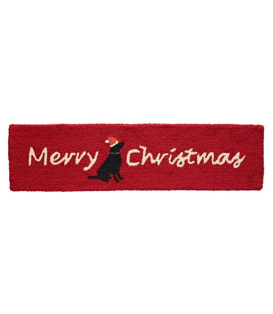 Wool Hooked Rug, Merry Christmas Lab