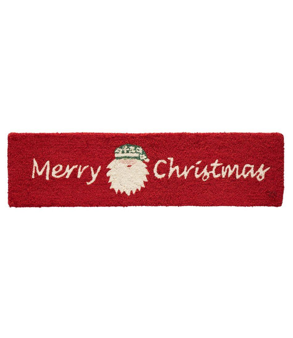 Wool Hooked Rug, Merry Christmas Santa