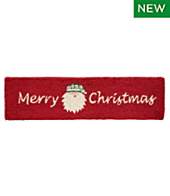 Wool Hooked Rug, Merry Christmas Santa
